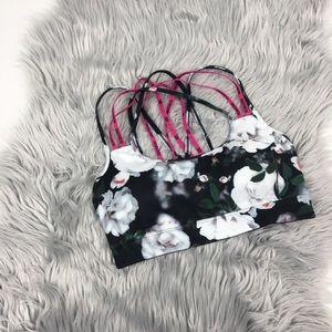 Victoria Secret sports strappy bra floral size s